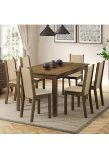Conjunto Sala De Jantar Madesa Miriam Mesa Tampo De Madeira Com 6 Cadeiras Marrom - Marrom - Dafiti