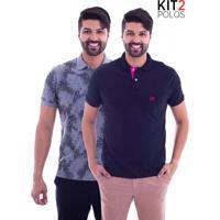 Kit 2 Camisas Polo Live - Lifestyle Com Bolso Preta E Leaf Mescla-Gg 642ddeaab474c