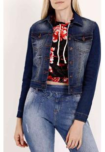 Jaqueta Jeans Cropped Pisom Feminina Azul