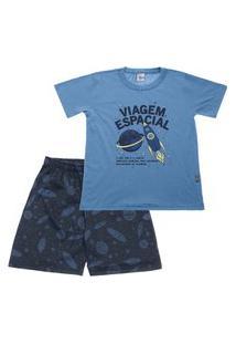 Pijama Jeans - Primeiros Passos Menino Meia Malha 42651-136 Pijama Jeans Primeiros Passos Menino Meia Malha Ref:42651-136-1