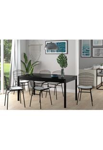 Conjunto De Mesa De Cozinha Com Tampo De Vidro Trama E 6 Cadeiras Branco E Preto