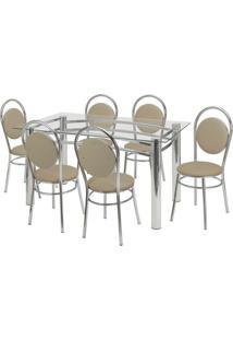 Conjunto De Mesa Com 6 Cadeiras Ana Paula Corino Bege E Cromado