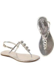 Rasteira Flat Bolinhas Mercedita Shoes Confortável Dia A Dia Casual - Feminino-Prata
