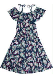Vestido Midi Infantil Estampado Azul