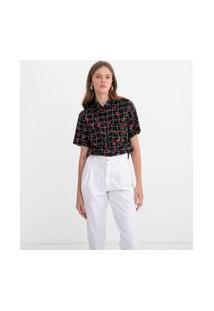 Camisa Grid Com Estampa Cereja | Blue Steel | Preto | G