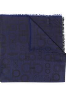 Salvatore Ferragamo Cachecol De Jacquard Com Padronagem Gancini - Azul