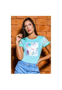 T-Shirt Detalhes De Renda Com Aplique Banila B
