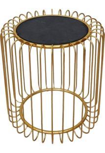 Mesa Lateral De Metal Dourado E Madeira