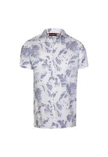 Camisa Masculina Tricoline Flamê Folhagem Off+Marnh