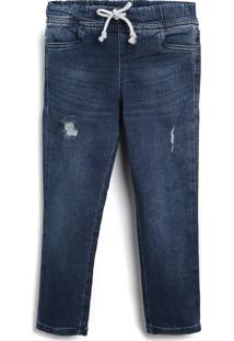 Calça Jeans Malwee Kids Infantil Amarração Azul