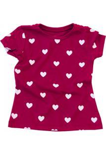 Camiseta Doll Up Corações Manga Curta Menina
