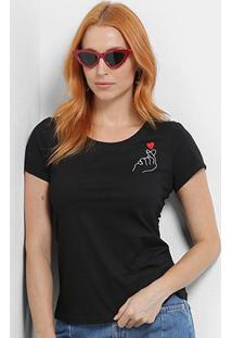 Camiseta Top Moda Bordada Estalo Coração Feminina - Feminino-Preto