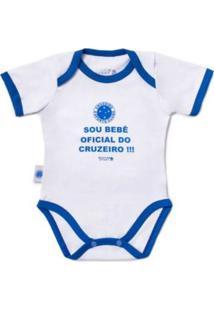 """Body Reve D'Or Sport """"""""Sou Bebê Oficial"""""""" Cruzeiro Branca E Azul"""