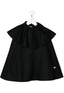 Lanvin Enfant Vestido Com Babados E Amarração - Azul