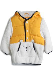 Jaqueta Gap Menino Urso Amarela/Branca