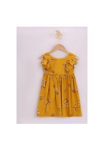 Vestido Infantil Estampado Floral Com Babados Manga Curta Mostarda