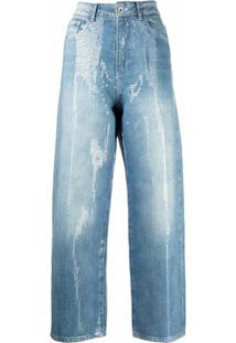 Emporio Armani Jaqueta Cropped Com Aplicação De Paetês - Azul