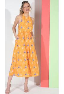 Vestido Floral Amarelo Frente Única