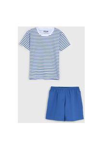 Pijama Tricae Curto Infantil Listrado Azul/Branco
