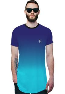 Camisa Longline Di Nuevo Azul Céu Degradê Azul Oceano