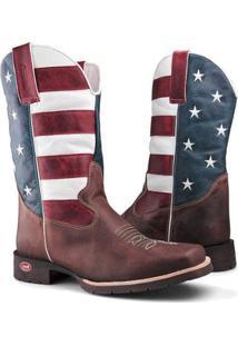Bota Texana Capelli Boots Country Bandeira Usa Couro Bico Quadrado Masculina - Masculino-Marrom