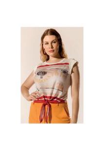 T-Shirt Com Estampa E Recorte No Ombro Em Tule Elegance