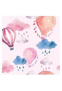Papel De Parede Balões E Nuvens Rosa 57X270Cm