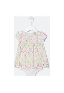 Vestido Infantil Estampado Floral Com Calcinha - Tam 0 A 18 Meses | Teddy Boom (0 A 18 Meses) | Branco | 0-3M