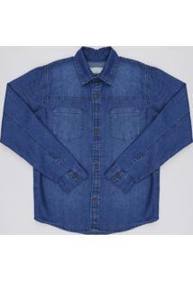 Camisa Jeans Infantil Com Bolsos Manga Longa Azul Médio