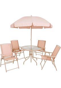 Conjunto Mor Malibu Mesa Com 4 Cadeiras E Guarda-Sol, Bege