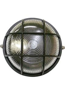 Arandela Tartaruga Circular 18Cm Alumínio E-27 1 Lâmpada Max 60W Com Grade Preta