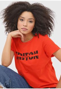 Camiseta Triton Lettering Vermelha - Vermelho - Feminino - Algodã£O - Dafiti