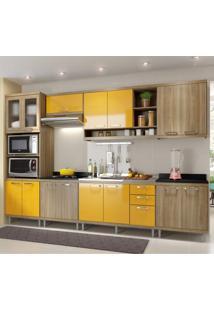 Cozinha Completa Com Balcão Sem Tampo 7 Peças 15 Portas Sicília Multimóveis Argila/Amarelo