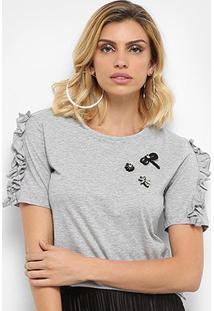 Camiseta Facinelli Com Aplique Feminina - Feminino-Mescla