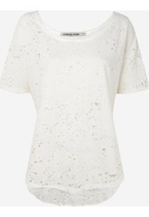 Camiseta John John Torn Malha Off White Feminina (Off White, Gg)