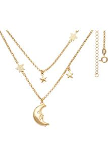 Gargantilha Prata Mil Dupla Com Lua Dupla E Estrelas Dourado - Dourado - Feminino - Dafiti