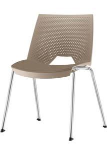 Cadeira Strike Assento Bege Base Cromada - 54066 - Sun House