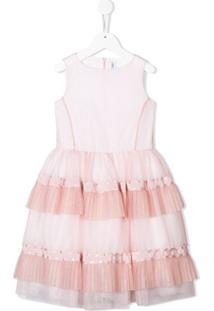 Simonetta Vestido Com Babados E Amarração - Rosa