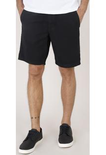 Bermuda De Sarja Masculina Reta Alfaiatada Com Cordão Preta
