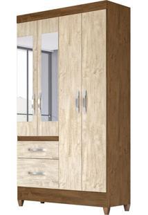 Guarda-Roupa Solteiro Com Espelho Madri 4 Pt 2 Gv Avelã E Castanho Wood
