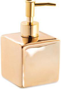 Porta Sabonete Liquido Liso- Dourado- 8,5X15X15Cm