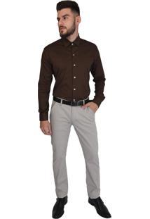Camisa Off Wear Manga Longa Comfort Marrom