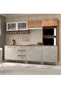 Cozinha Compacta C/Tampo Reflecta02 – Fellicci - Nogal / Concreto
