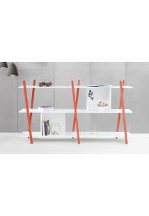 Aparador De Sofá Sue - Estante Moderna Baixa Branca Com Pés De Madeira Cor Vermelha - 180X38X100 Cm