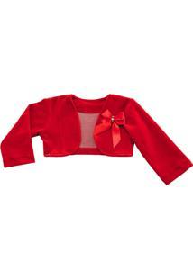 Bolero Libelinha Para Bebê Em Plush - Vermelho