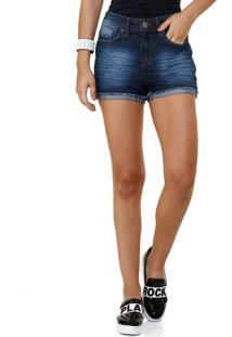Short Feminino Jeans Barra Dobrada
