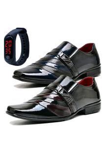 2 Pares Sapato Social Fashion Com Relógio Led Fine Dubuy 632El Azul