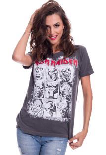 Camiseta Jazz Brasil Iron Maiden Preto Estonado - Cinza - Feminino - Algodã£O - Dafiti