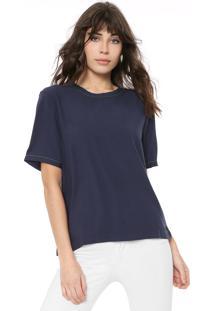 Camiseta Colcci Lisa Azul-Marinho - Azul Marinho - Feminino - Viscose - Dafiti