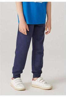 Calça Infantil Menino Em Moletom Jogger Azul